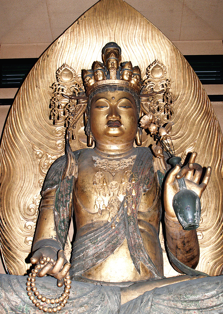 Principal deity, a Wooden Seated Statue of the Eleven-faced Kannon